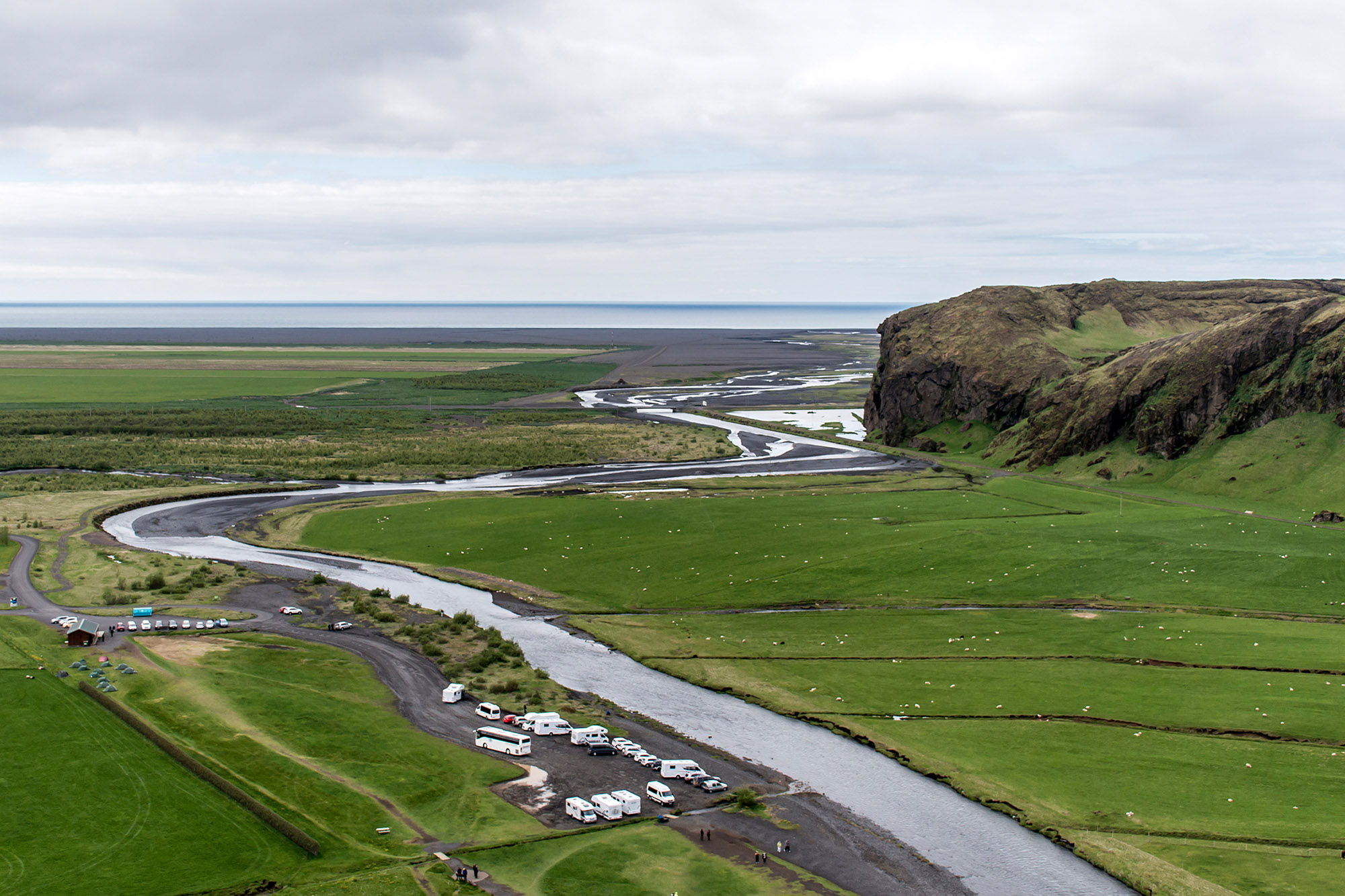 View from Skogafoss beautiful in green Iceland Summer